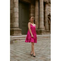 Elsa | Pink short satin dress