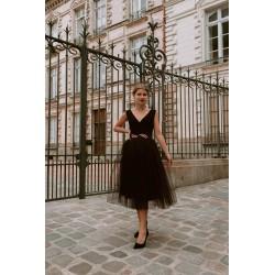 Audrey | Robe noire midi en...